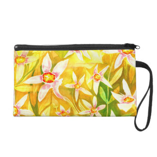 Beautiful Watercolour Floral Wristlet Purse Bag