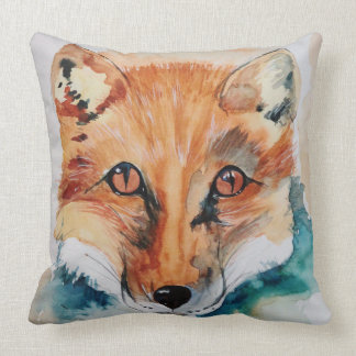 Beautiful Watercolour Fox Painting Throw Pillow