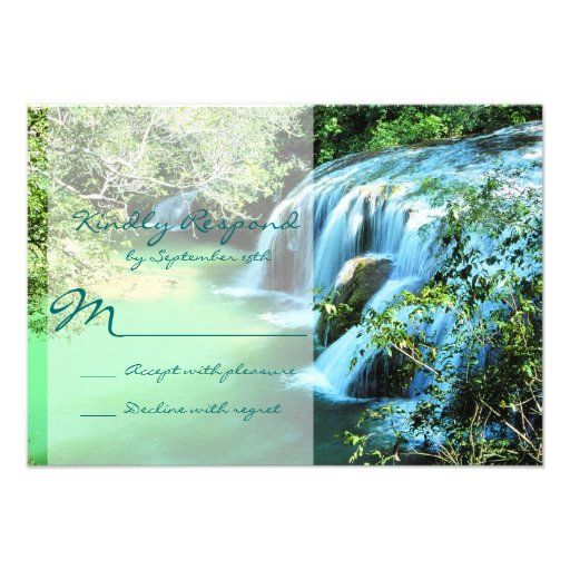 Beautiful Waterfall Outdoor Wedding RSVP Cards