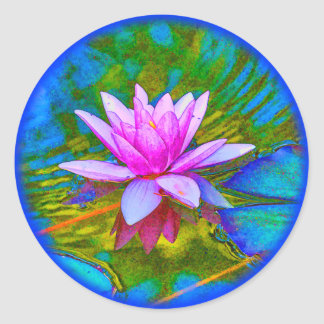 Beautiful Waterlily Lotus Blossom Yoga Classic Round Sticker