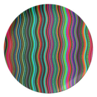 Beautiful Wavy Multicolored Stripe Pattern Plate