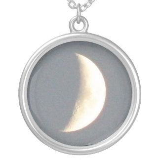 Beautiful Waxing Crescent Moon at Dusk Necklace
