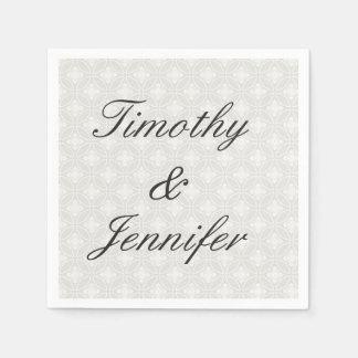 Beautiful Wedding Damask Pattern Silver and White Paper Napkin