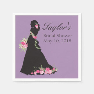 Beautiful Wedding Gown Silhouette Disposable Napkin