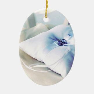Beautiful Wedding Ring Pillow Ceramic Ornament