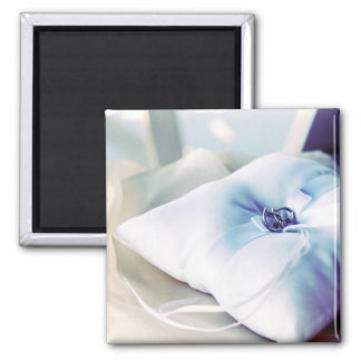 Beautiful Wedding Ring Pillow Square Magnet
