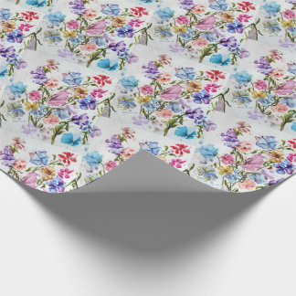 BEAUTIFUL WHIMSICAL FLOWER GARDEN WRAPPING PAPER