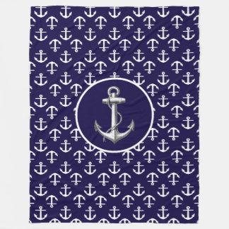 Beautiful White and Blue Nautical Anchor Pattern Fleece Blanket
