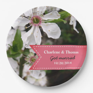 Beautiful White Blossom Wedding Paper Plate