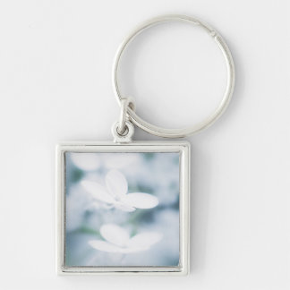Beautiful white blossoms Silver-Colored square keychain