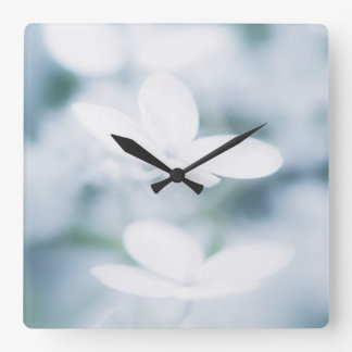 Beautiful white blossoms square wall clock