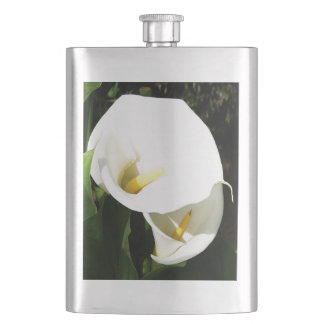 Beautiful White Calla Flowers In Bright Sunlight Hip Flask
