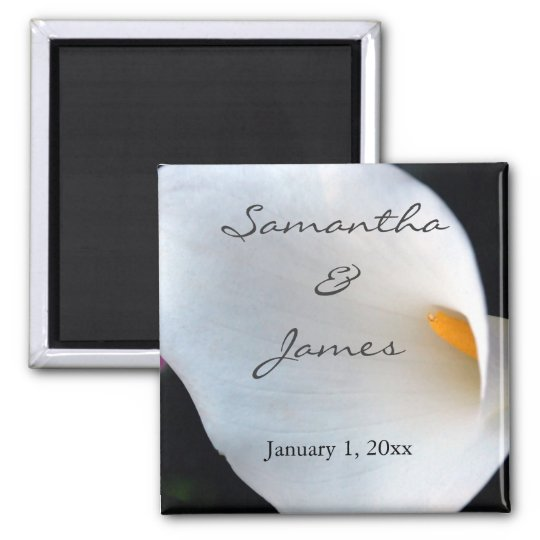 Beautiful White Calla Lily Personalized Wedding Magnet