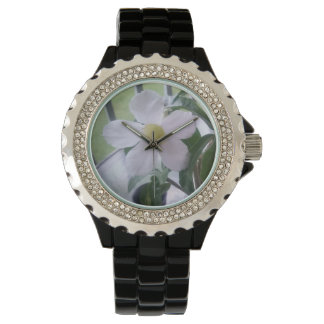 Beautiful White Flower Picture Watch for Her