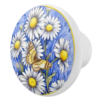 Beautiful White flowers on blue background Ceramic Knob