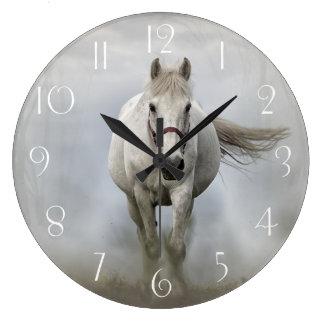 Beautiful white horse in mist wall clocks