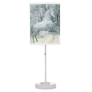 Beautiful White Horse in Snow Desk Lamps