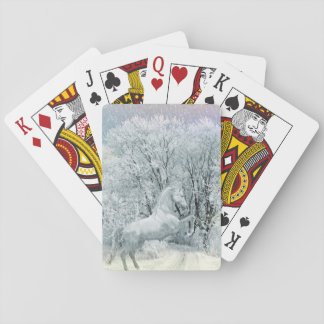 Beautiful White Horse in Snow Poker Deck