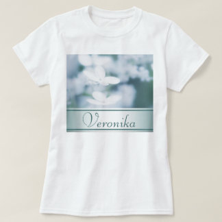 Beautiful white hydrangea blossoms. Add name. T-Shirt