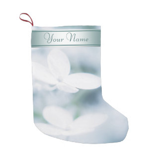 Beautiful white hydrangea blossoms. Add text. Small Christmas Stocking