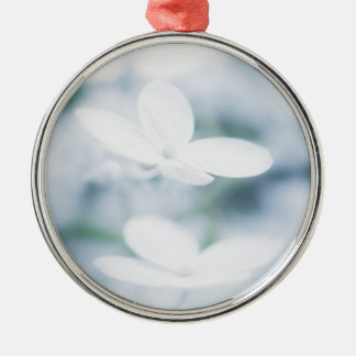 Beautiful white hydrangea blossoms. metal ornament