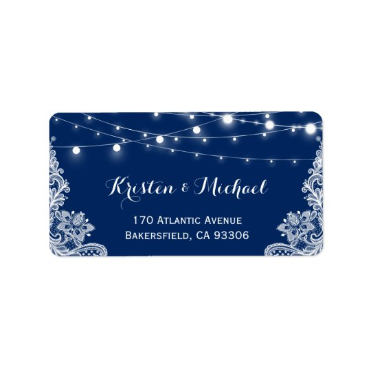 Beautiful White Lace String Lights Navy Blue Label