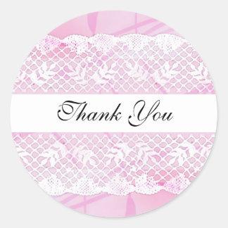 Beautiful White Lace Thank You Sticker