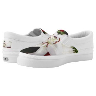Beautiful White Lily  Zipz Slip On-Shoes US Women Slip-On Sneakers