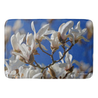 Beautiful White Magnolia Sargentiana Flowers Bath Mat