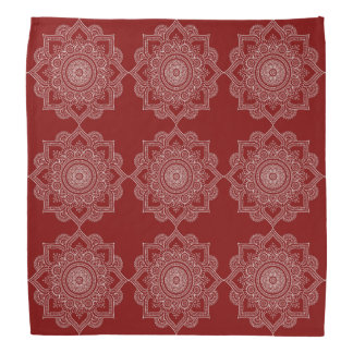 Beautiful White Mandala Flower On Red Bandana
