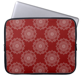 Beautiful White Mandala Flower On Red Laptop Sleeve