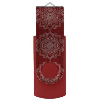 Beautiful White Mandala Flower On Red Swivel USB 3.0 Flash Drive