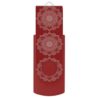 Beautiful White Mandala Flower On Red USB Flash Drive