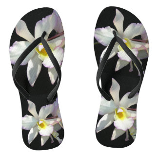Beautiful White ORCHID Tropical Flowers Fancy Flip Flops