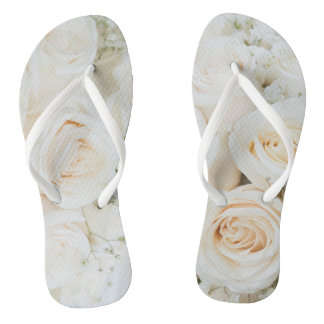 Beautiful White Rose Flip Flop For The Bride To Be Flip Flops