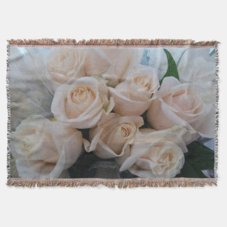 Beautiful White Roses Picture Throw for Her