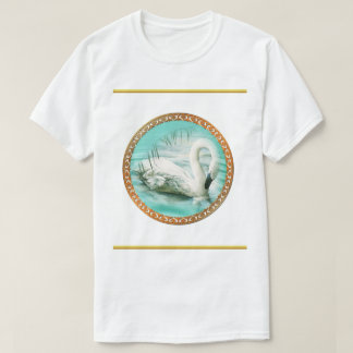 beautiful white swan in a turquoise blue lake T-Shirt