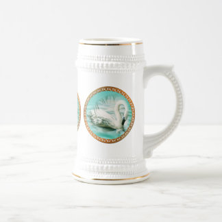Beautiful white swan in a turquoise blue water beer stein