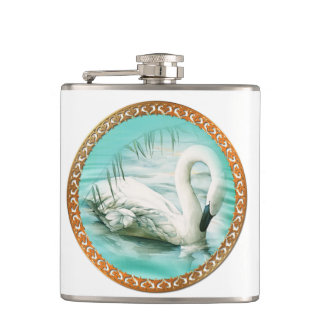 Beautiful white swan in a turquoise blue water hip flask