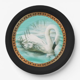 Beautiful white swan in a turquoise blue water paper plate