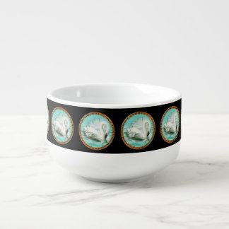 Beautiful white swan in a turquoise blue water soup mug