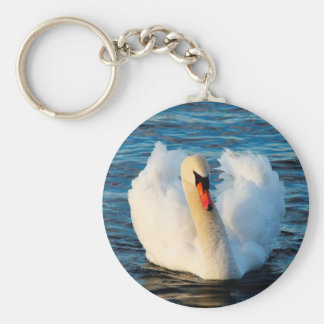 Beautiful White Swan in lake Keychain