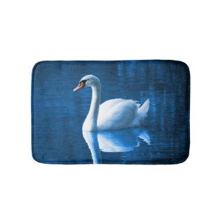 Beautiful white swan in water bath mat