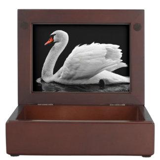 Beautiful white swan swimming in lake keepsake box