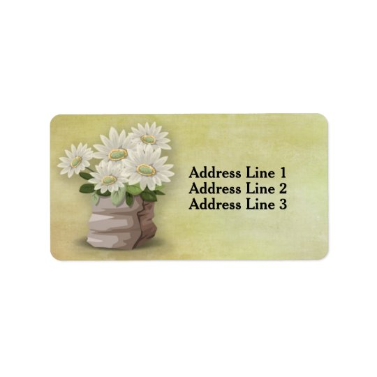 Beautiful White Vintage Flowers on Green Label