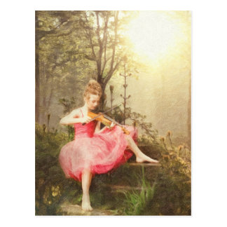 Beautiful Wild Girl Playing Violin in the Forest Postcard