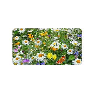 Beautiful Wildflower and Butterfly Meadow Custom Address Label