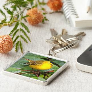 Beautiful Wilson's Warbler in the Cherry Tree Keychain
