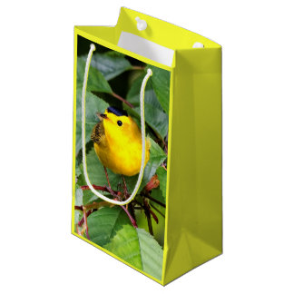 Beautiful Wilson's Warbler in the Cherry Tree Small Gift Bag