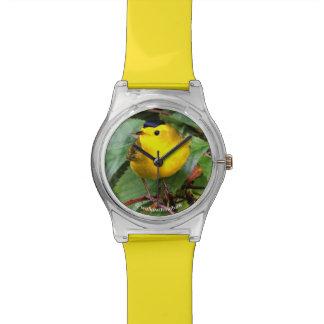 Beautiful Wilson's Warbler in the Cherry Tree Wrist Watches